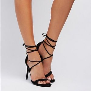 Charlotte Russe Black lace-up dress sandals